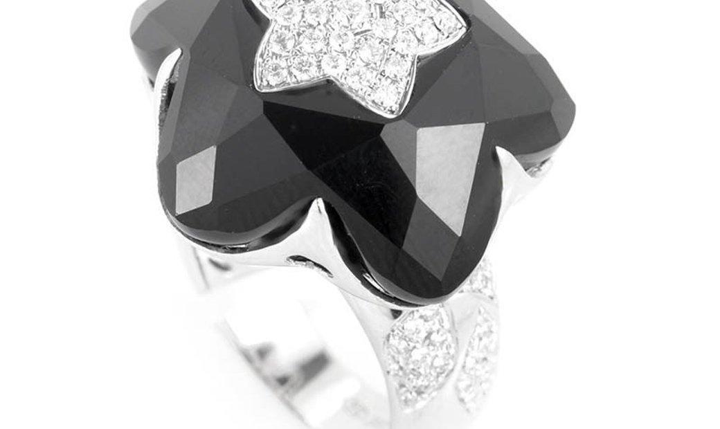 Non Branded 18K White Gold Onyx Star & Diamond Ring