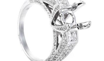 Non Branded 18K White Gold Diamond Bridal Mounting Ring CRR7910