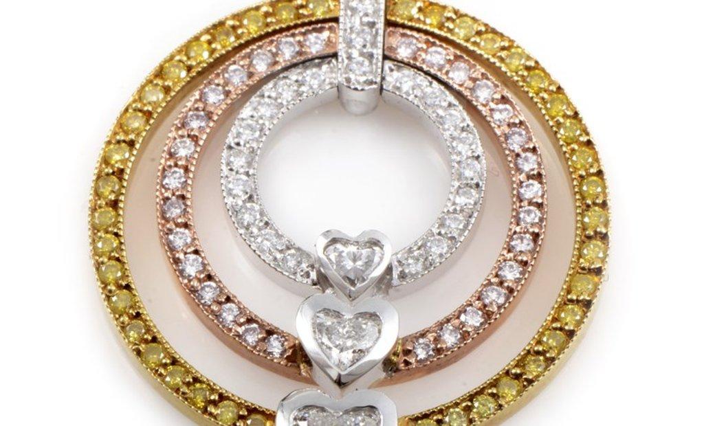 Non Branded 18K Tri-Gold Openwork Diamond Enhancer Pendant CPD8770