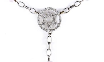 Non Branded 14/18K White Gold Diamond & Rose Quartz Judaic Necklace