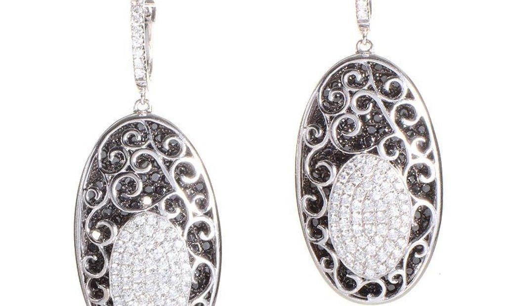 Non Branded Luxurious 18K White Gold Black & White Diamond Drop Earrings