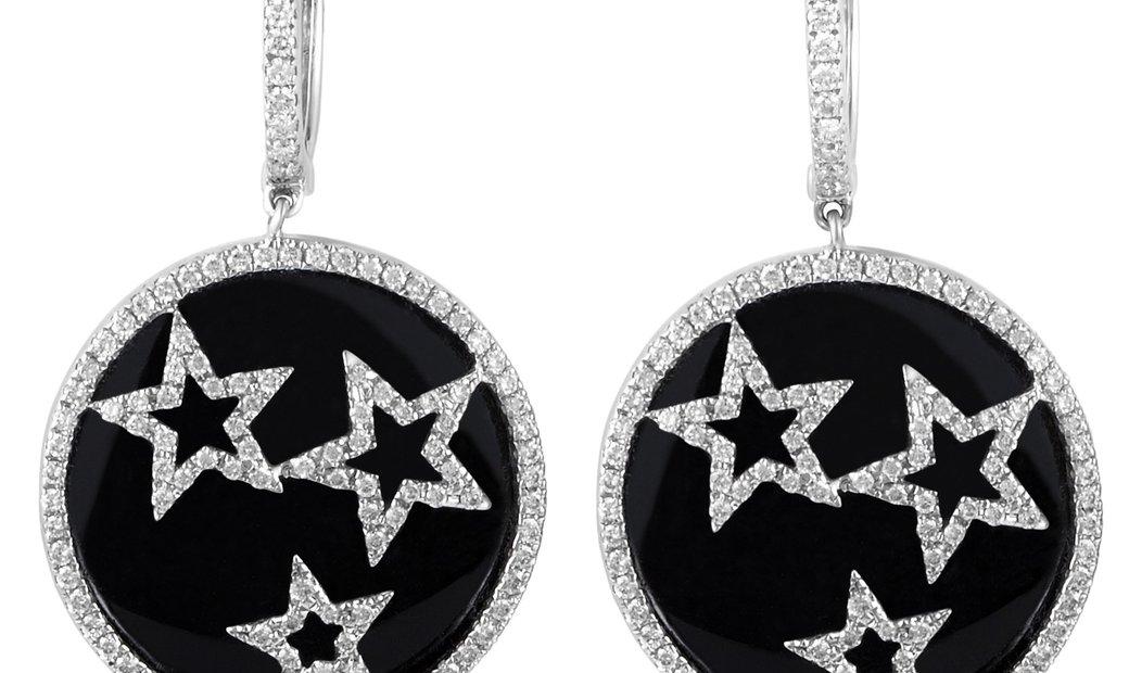 Non Branded Women's 18K White Gold Diamond Stars Dangle Earrings CED9161