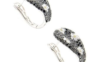 Non Branded 18K White Gold Diamond Daisy Earrings CED9114