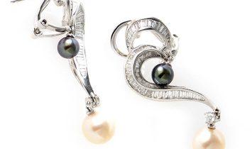 Non Branded 18K White Gold Diamond Black and White Pearl Dangle Earrings
