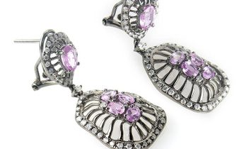 Non Branded 18K White Gold Diamond and Pink Sapphire Drop Earrings