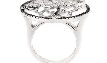 Non Branded 18K White Gold Multi Diamond Butterfly Ring