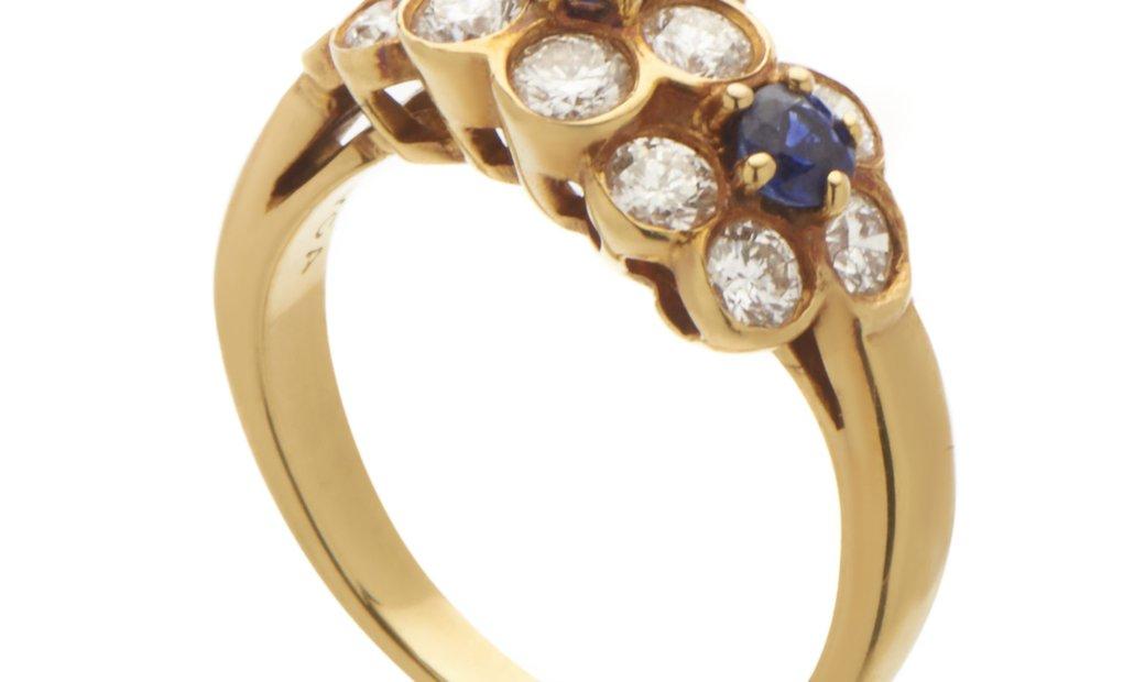 Van Cleef & Arpels Van Cleef & Arpels Womens 18K Yellow Gold Diamond Sapphire Flowers Ring