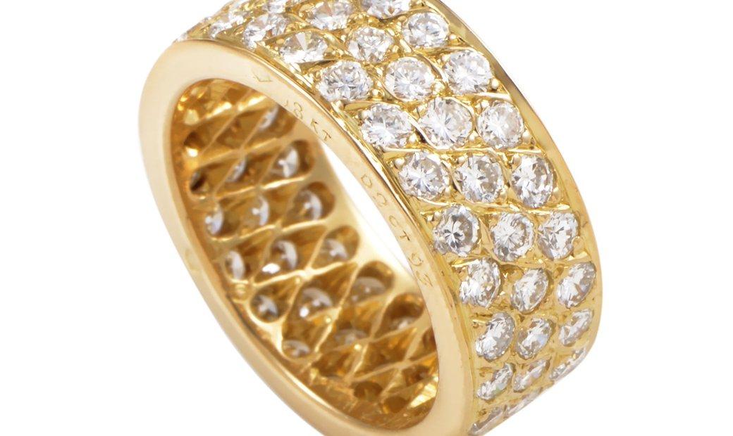 Van Cleef & Arpels Van Cleef & Arpels Womens 18K Yellow Gold Diamond Pave Eternity Band Ring