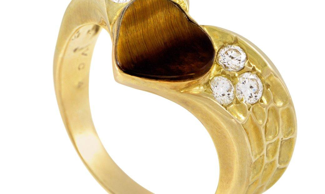 Van Cleef & Arpels Van Cleef & Arpels Women's 18K Yellow Gold Diamond & Tiger's Eye Heart Ring
