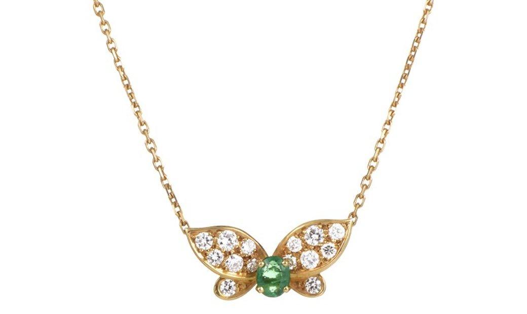 Van Cleef & Arpels Van Cleef & Arpels Yellow Gold Diamond and Emerald Butterfly Pendant Necklace