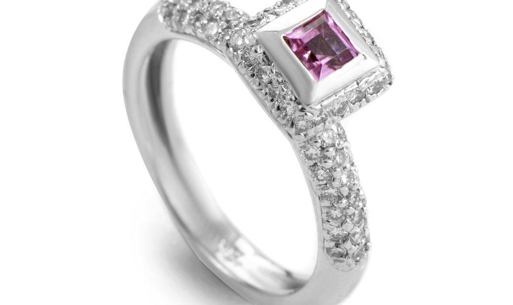 Barry Kronen Barry Kronen 18K White Gold Pink Sapphire and Diamond Ring