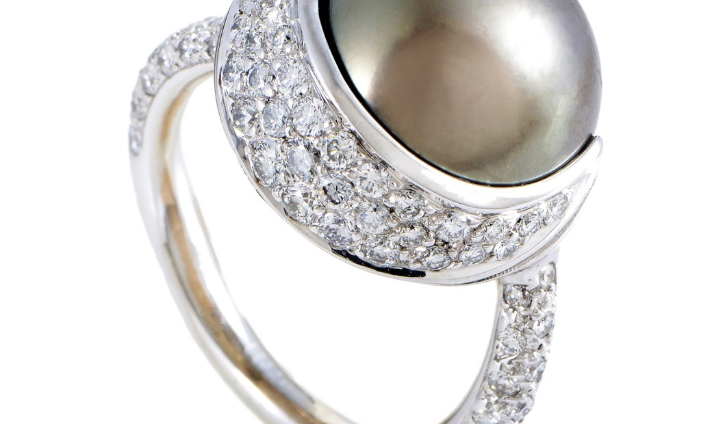 Chanel Chanel Womens 18K White Gold Diamond and 13.77mm Black Tahitian Pearl Ring