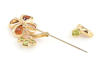 Chanel Chanel Women's 18K Yellow Gold Floral Gemstone Pin