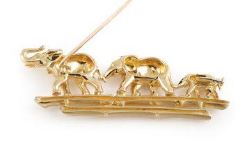 Cartier Cartier 18K Yellow Gold Emerald Elephant Family Brooch