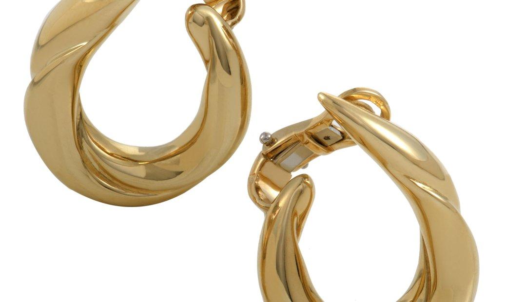 Boucheron Boucheron Womens 18K Yellow Gold Clip-on Hoop Earrings