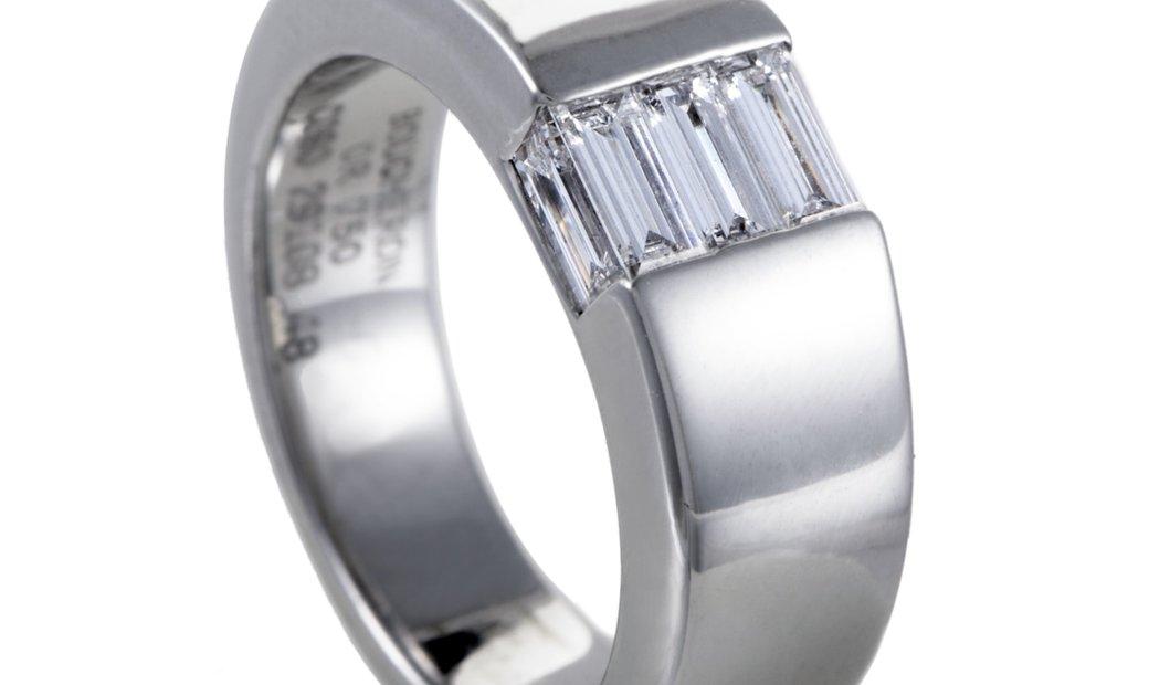 Boucheron Boucheron Womens 18K White Gold Diamond Baguette Band Ring