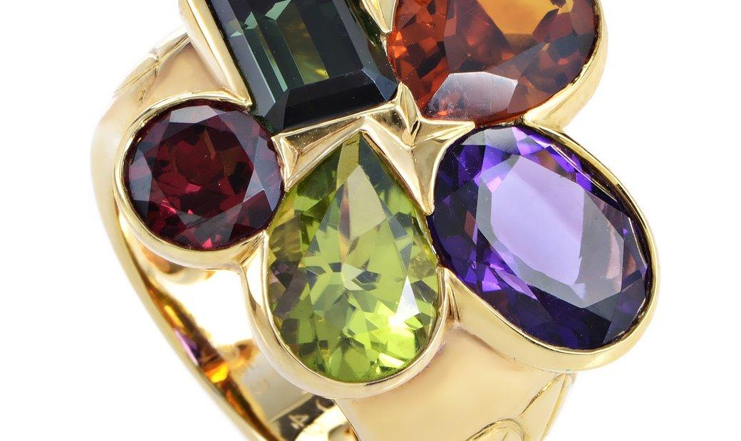Dior Dior Women's 18K Yellow Gold Multi-Gemstone Cluster Ring