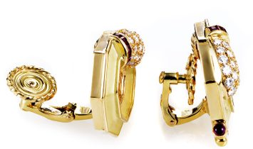 Chaumet Chaumet Women's 18K Yellow Gold Diamond & Ruby Clip-on  Earrings