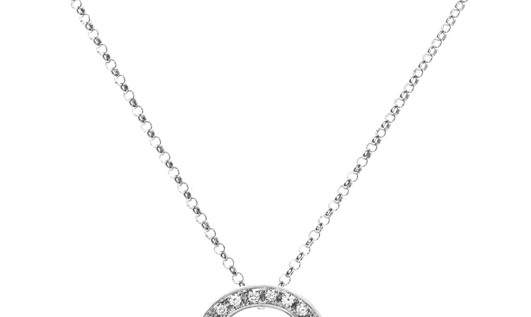 Celine Celine Céline 18K White Gold Diamond Horseshoe Pendant Necklace