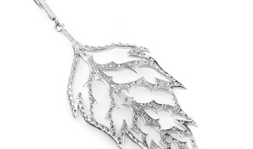 Cathy Waterman Cathy Waterman 18K White Gold Diamond Leaf Pendant