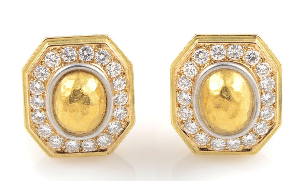 Chaumet Chaumet 18K Yellow Gold Diamond Clip-On Earrings