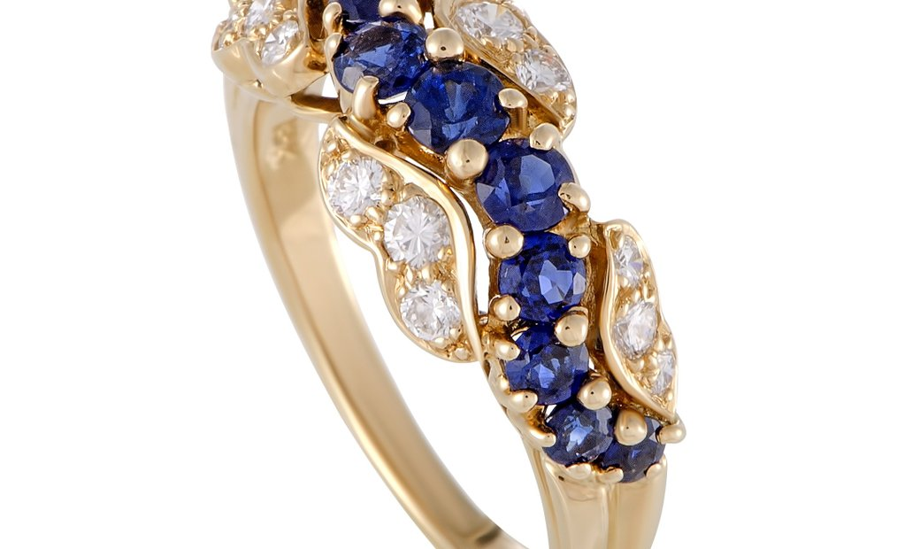 Oscar Heyman Oscar Heyman 18K Yellow Gold Diamond and Sapphire Band Ring