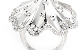 Davide Currado Davide Currado 18K White Gold Diamond Umbrella Ring