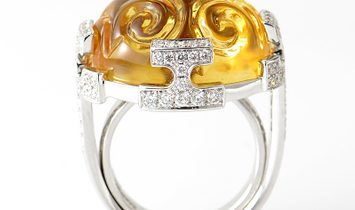 Sartoro Sartoro 18K White Gold Yellow Citrine and Diamond Ring