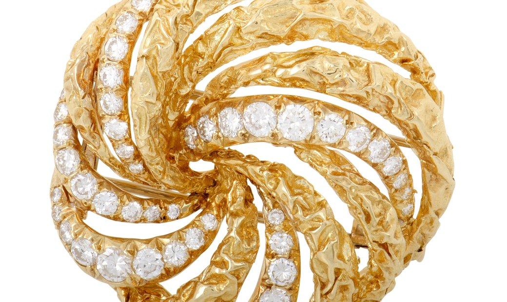 Dior Dior Womens 18K Yellow Gold Diamond Swirl Brooch