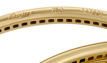 Cartier Cartier Trinity 18K Yellow Gold Full Diamond Pave Rolling Bangle Bracelet