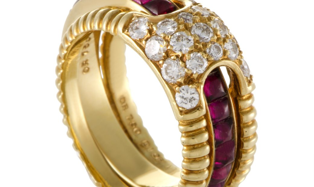 Dior Dior Womens 18K Yellow Gold Diamond and Ruby Insert Band Ring Set