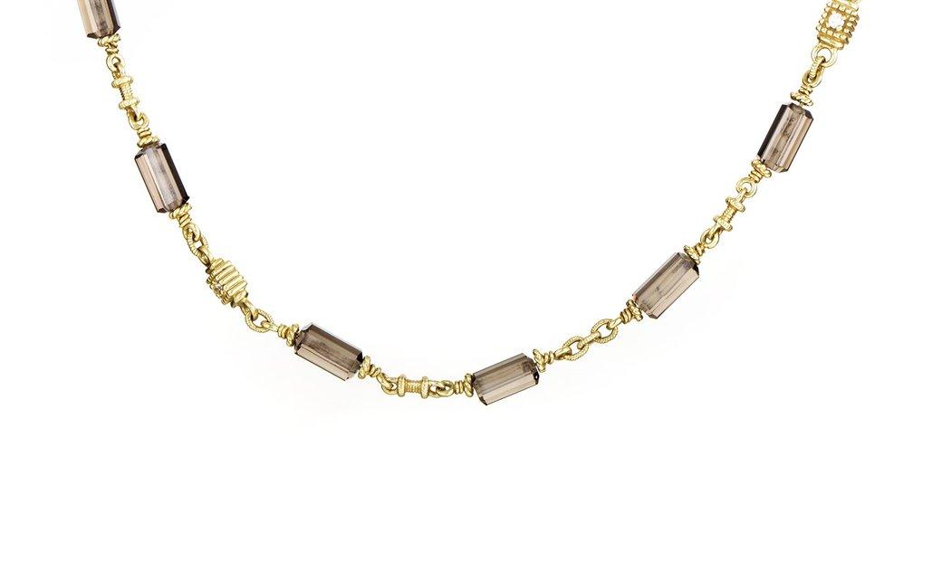 Judith Ripka Judith Ripka Women's 18K Yellow Gold Diamond & Smoky Quartz Choker Necklace