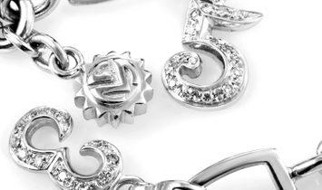 Franck Muller Franck Muller Talisman 18K White Gold & Diamond 6 Charm Bracelet