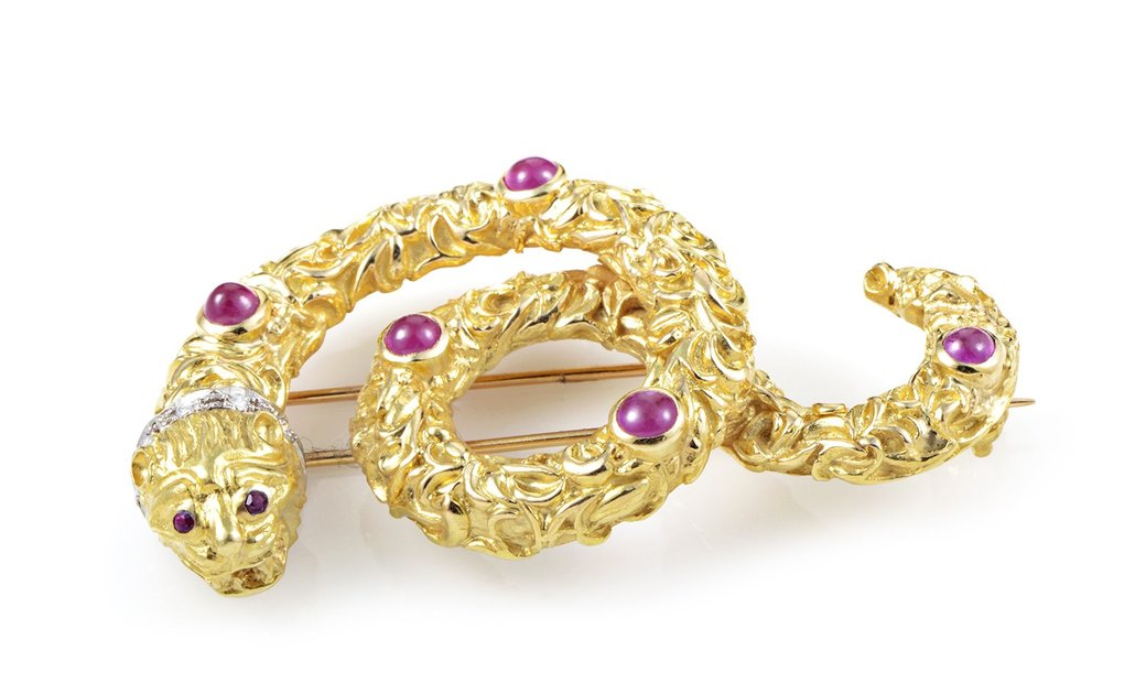 Ilias Lalaounis Ilias Lalaounis 18K Multi-Tone Gold Diamond and Ruby Snake Pin