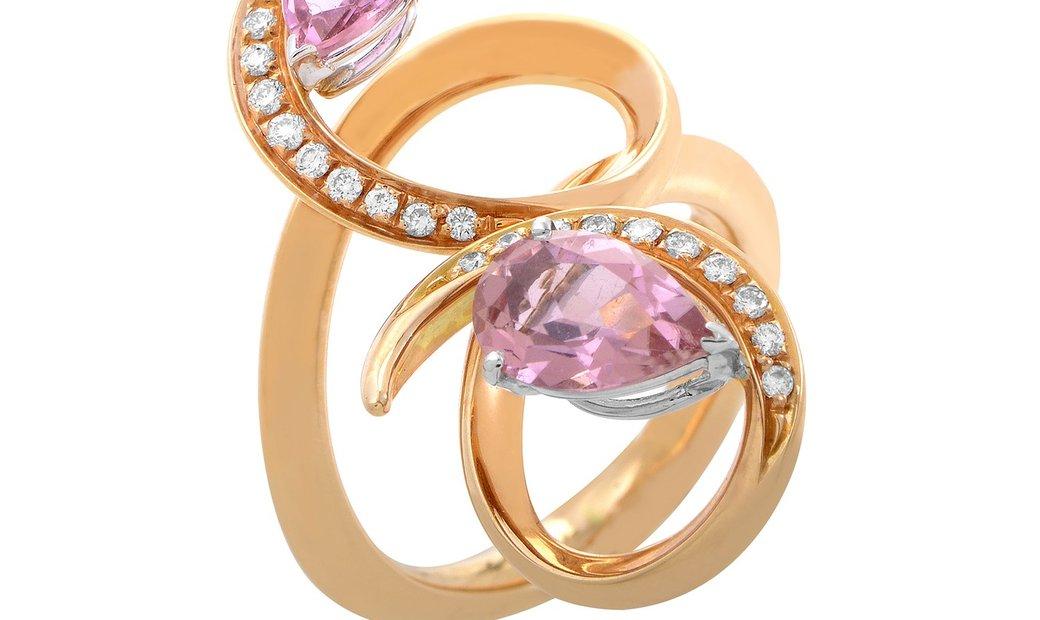 Io Si Io Si 18K Rose Gold Pink Sapphire and Diamond Ring