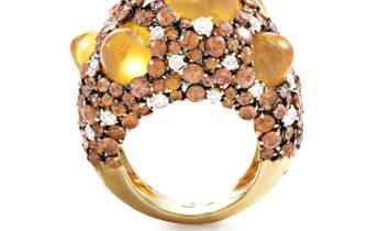 Chimento  Chimento Moonrise 18K Yellow Gold Orange Gem & Diamond Ring