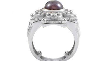 Kieselstein-Cord Kieselstein-Cord Women's 18K White Gold Tourmaline & Diamond Carved Cross Ring