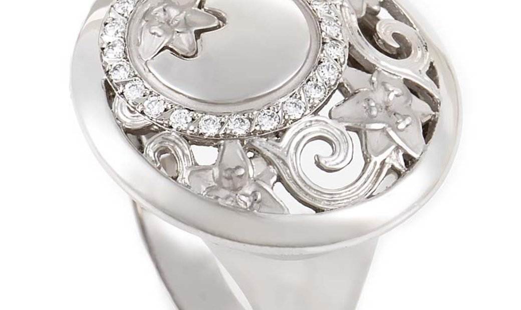 Carrera y Carrera Carrera y Carrera Jazmin Womens 18K White Gold Diamond Lace Cocktail Ring