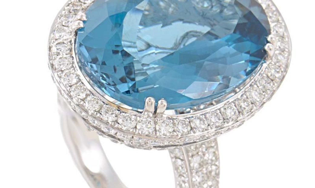 LB Exclusive LB Exclusive 18K White Gold Topaz & Diamond Cocktail Ring GLR-1134