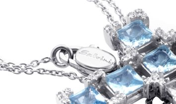 Salvini Salvini 18K White Gold Aquamarine and Diamond Crucifix Pendant Necklace