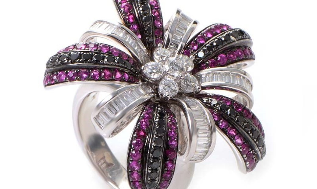 Salavetti Salavetti 18K White Gold Pink Sapphire Multi-Diamond Ring