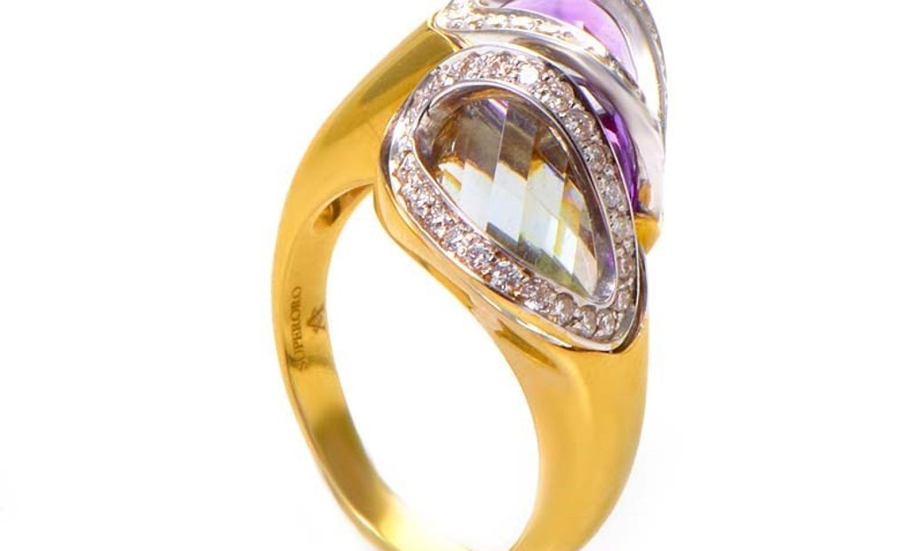 Superoro Superoro 18K Yellow Gold Diamond and Green and Purple Amethyst Ring