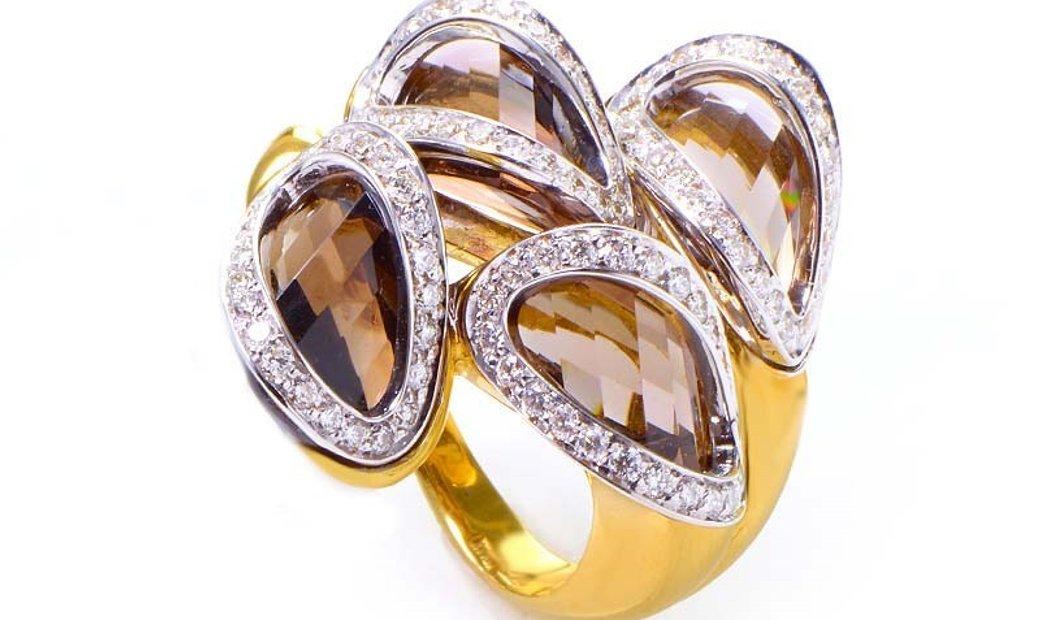 Superoro Superoro 18K Yellow Gold Smokey Topaz & Diamond Ring