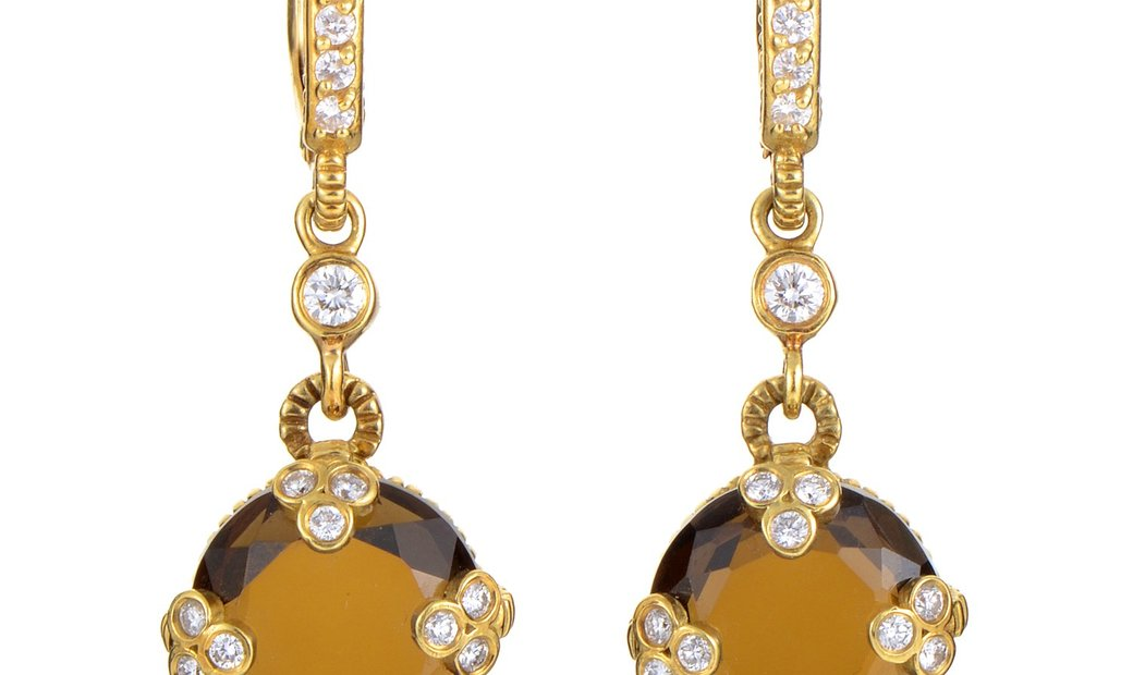Judith Ripka Judith Ripka 18K Yellow Gold Diamond and Smoky Quartz Earrings
