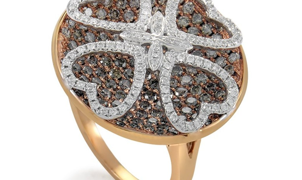 Gregg Ruth Gregg Ruth Women's 18K Rose Gold Multi-Diamond Clover Ring RD8-10010R