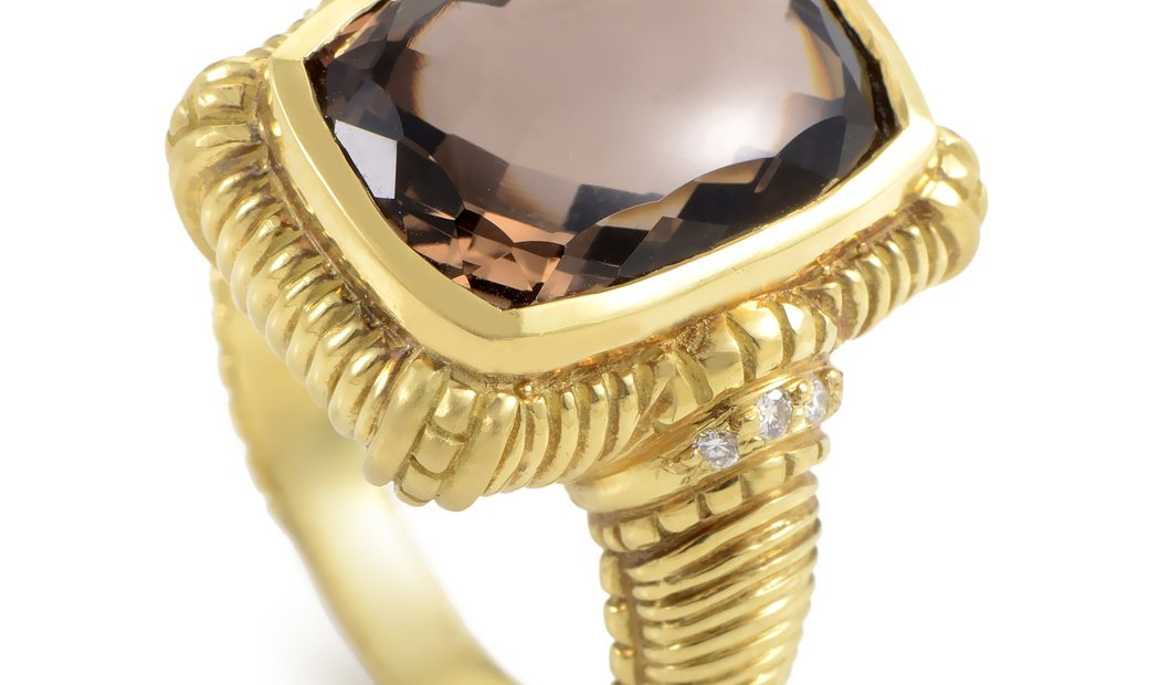 Judith Ripka Judith Ripka 18K Yellow Gold Diamond & Smokey Topaz Ring