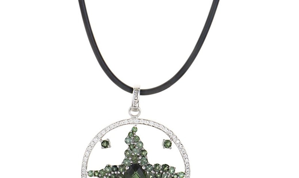 Enzo Enzo 18K White Gold Green Tourmaline & Diamond Enhancer Pendant Necklace