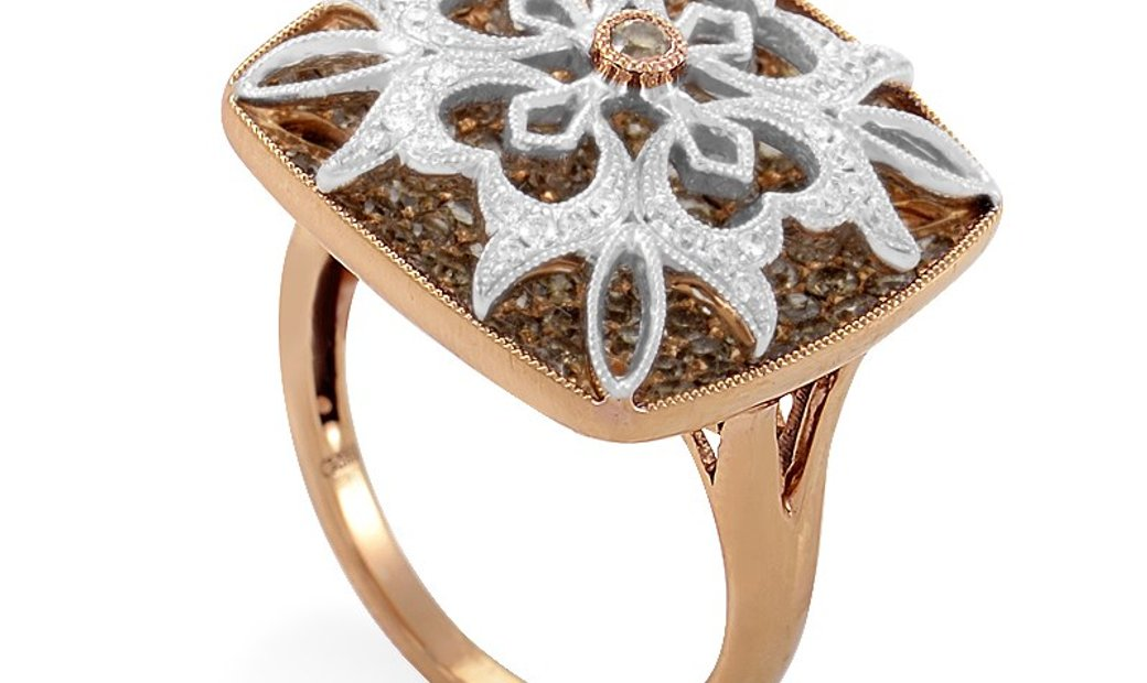 Gregg Ruth Gregg Ruth Women's 18K Multi-Gold & Diamond Pave Flower Ring RD8-10005R