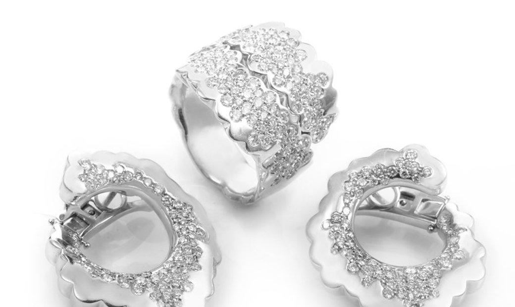 Roberto Portillo Roberto Portillo 18K White Gold Diamond Ring and Earrings Set