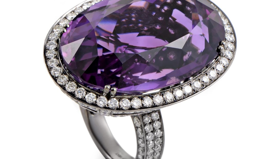 LB Exclusive LB Exclusive 18K White Gold Amethyst & Diamond Cocktail Ring AN68382